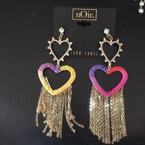 Noir Double Hearts & Waterfall Earrings, Threads &